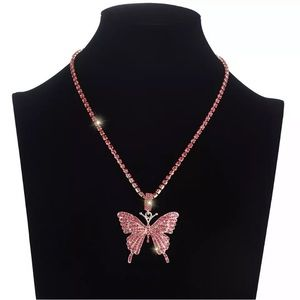 Hip Hop Rhinestone Pink Butterfly 🦋 Necklace